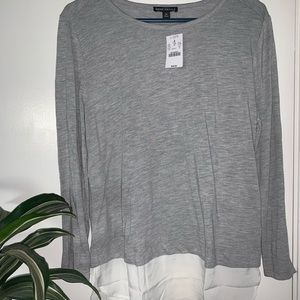 J Crew grey and white top